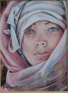 """""""Donna con turbante"""" olio su tela 30 x 40)"""