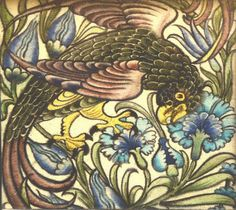 A WILLIAM DE MORGAN TILE depicting a parrot within - by Mallams