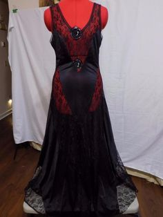 BUY IT NOW! Always FREE SHIPPING!  Sexy Black Nylon Maxi Gown Diagonal Sheer Lace Inserts Full Sweep Size M  | eBay