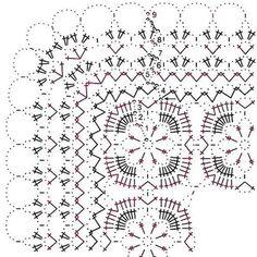 Tecendo Artes em Crochet: Trilho de Mesa Clássico Crochet Tablecloth Pattern, Crochet Bedspread Pattern, Crochet Square Patterns, Crochet Diagram, Crochet Blanket Patterns, Crochet Motif, Free Crochet, Knitting Patterns, Crochet Cushion Cover
