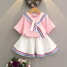 #NewChic - #NewChic Stripe Short Sleeve O-neck T-shirt With Skirt Suit For Kids Girls - AdoreWe.com