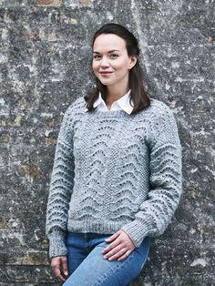 Strikkeopskrift på sweater med påfuglemønster