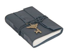 Black Leather Journal with Winged Key Clock Bookmark - Ready to Ship -