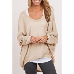 $15.94 Stylish Scoop Neck Long Sleeve Pure Color Women's Sweater