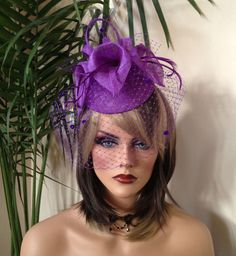 Purple Kentucky Derby fascinator. Pink Fascinator. Purple Derby hat. Couture purple fascinator for weddings, cocktail party, races, church by AnnettesCouture on Etsy https://www.etsy.com/listing/180219723/purple-kentucky-derby-fascinator-pink