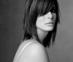 Short layers with long bangs