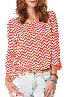 Coral chevron blouse
