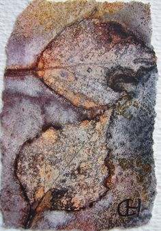Polykromos: Monoprinting With Watercolor - watercolor paper soaked with watercolor paint and water, leaves laid on top and then stones to hold them down and then left to dry.