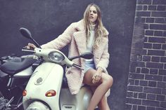 AW14: STREET UP COOL #Missguided #mod #furrycoat #shearling #scooter #fashionshoot #modelcrush #hairenvy