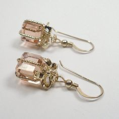 Gifted Earrings Rosaline Crystal with 14kt Gold by SLCDesignsUK