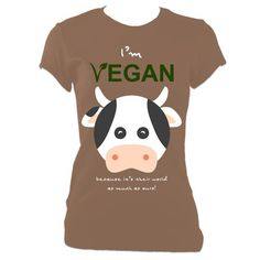 Going fast! Get your hands on I'm Vegan - Cow Ladies Fitted T-Shirt while you can! 🙌 http://www.passoom.com/products/im-vegan-cow-ladies-fitted-t-shirt?utm_campaign=crowdfire&utm_content=crowdfire&utm_medium=social&utm_source=pinterest
