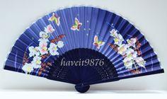 Cloth fabric Japanese hand fan folding fan wedding butterfly Blue on Etsy, $4.99