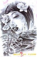 hình xăm geisha 16