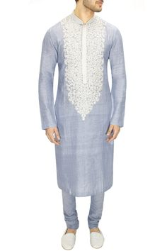 Sabyasachi presents Sky blue kashmiri embroidered kurta set available only at Pernia's Pop-Up Shop. Indian Groom Wear, Indian Attire, African Attire, African Wear, Indian Wear, Indian Outfits, African Dress, Indian Men Fashion, Men's Fashion