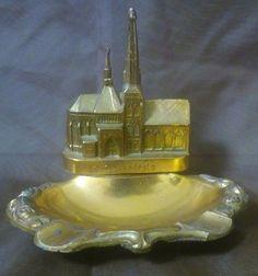 Vintage metal Souvenir ashtray Luxembourg La Cathedrale