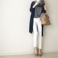 {F8AB3F81-C54D-4601-9ED5-32962B5D1839} Mom Outfits, Casual Outfits, Cute Outfits, Fashion Outfits, Womens Fashion, White Jeans Outfit, Trouser Outfits, Fashion Tips For Girls, Japan Fashion