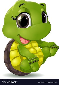 cute animal: little turtle that sits on a white background Cute Cartoon Pictures, Cartoon Pics, Cartoon Art, Cute Pictures, Cartoon Turtle, Cute Turtles, Baby Turtles, Disney Drawings, Cute Drawings