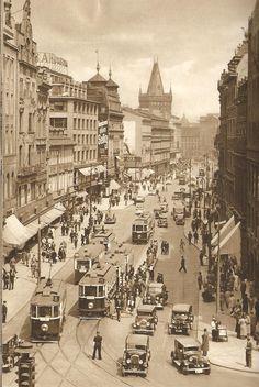 Prague, traffic jam on Na Příkopě street, 30's