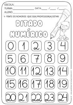 DITADO NUMÉRICO Kindergarten Math Worksheets, Preschool Curriculum, Math Activities, Free Printable Worksheets, Worksheets For Kids, Numbers Preschool, Pre Writing, First Grade Math, Teaching Spanish