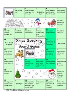 With this easy Christmas Speaking Board Game, young learners will be able to ask and answer common questions about Christmas and Santa Claus. Especially suitable for smaller groups or one-on-one classes. (For bigger groups you could print more copies and split the class into groups). Have fun! - ESL worksheets