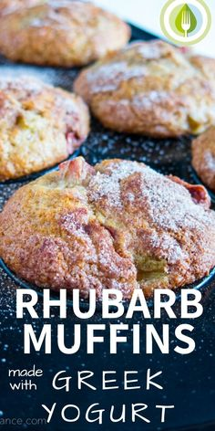 Rhubarb Muffins with Greek Yogurt A go-to muffin recipe packed full of fresh rhubarb. You will want to save this one for rhubarb season – Rhubarb Muffins with Greek Yogurt. Rhubarb Desserts, Rhubarb Cake, Healthy Rhubarb Recipes, Frozen Rhubarb Recipes, Recipes With Greek Yogurt, Rhubarb Ideas, Rhubarb Cookies, Rhubarb Upside Down Cake, Greek Yogurt Cake
