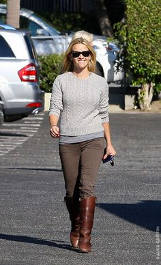 gray tee + gray cable + brown cords + brown boots / reese