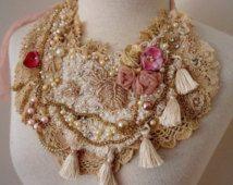 vintage lace beaded necklace, boho beaded tea dye lace necklace, Fringe beaded bib necklace, tattered vintage lace necklace,