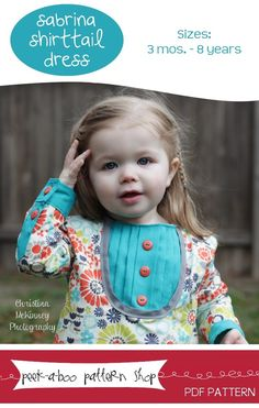 The Sabrina Shirttail Dress PDF sewing pattern available at Fairytale Frocks & Lollipops.  The bib front is lovely!