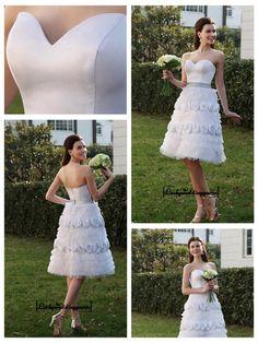 Alluring Satin&Tulle A-line Sweetheart Neckline Knee Length Wedding Dress