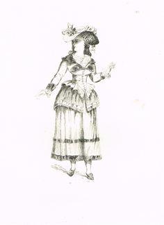 Planche 16 - Bourgeoise - Costumes du XVIIIe siècle tirés des Prés Saint-Gervais - 20 eaux-fortes de Guillaumot fils d'après les dessins de Draner - 1874 - MAS Estampes Anciennes - Antique Prints since 1898