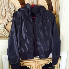 Forever 21 jacket! Faux leather jacket! With the hood! Very cool looking! Deep purple color! Very versatile yet adding modern touch! In excellent condition! Forever 21 Jackets & Coats