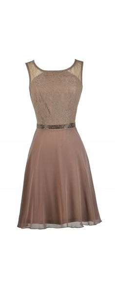 Lily Boutique Mocha Glamour Embellished Lace and Chiffon Dress, $38 Mocha Embellished A-Line Dress, Cute Mocha Dress, Brown Bridesmaid Dress, Lace Bridesmaid Dress www.lilyboutique.com