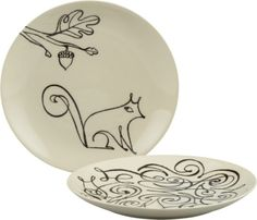 """Squirrel and Scroll 8.5"""" Plates    Crate and Barrel"""