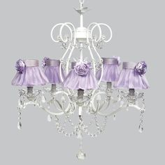 White 5 Light Grace Chandelier with Lavender Ruffled Sheer Skirt | Jack and Jill Boutique