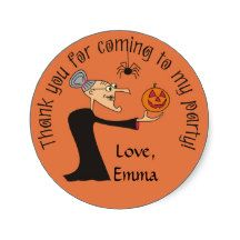 Cartoon Witch and Pumpkin Halloween Party Stickers