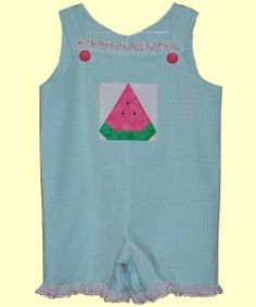 "Holly and Hunter A little Swiss edging and watermelon makes this a sweet play suit for little girls! Watermelon is from boo, ""Summertime Fun"" Dimensional Paper Piecing."