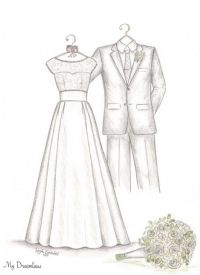 Wedding Dress Sketches. Perfect one year anniversary gift, wedding day ...