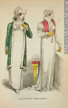 Print - Fashion Plate London Dresses (from The Lady's Monthly Museum) February 1, 1810, 19th century Hand-coloured etching on paper