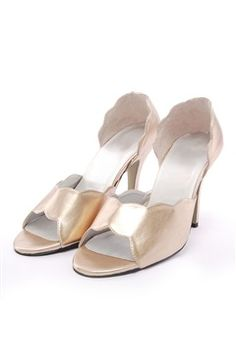Open Toe Scalloped Edge Closed Back Wedding Shoes