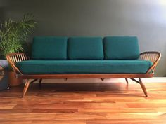 Mid Century Ercol Day Be Reupholstered Bute Tiree Fabric Dark Green Teal Sofa Ercol Sofa, Ercol Furniture, Living Room Furniture, Mid Century Couch, Mid Century Furniture, Reupholster Couch, Teal Couch, 3 Seater Leather Sofa, Lounge Design