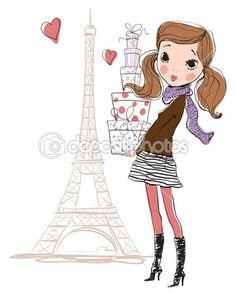 Shopping girl in Paris