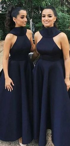 Black A-line Halter Sleeveless Cheap Long Bridesmaid Dresses Online, W – LoverBridal Bridesmaid Dresses Online, Black Bridesmaid Dresses, Wedding Dresses, Bridesmaids, Bride Dresses, Prom Dresses, How To Make Shoes, Blue Satin, Dress With Bow