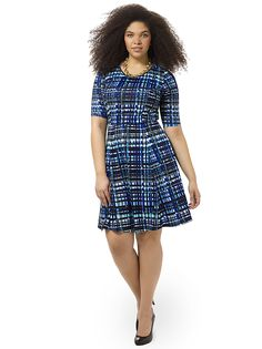 Sapphire Plaid Fit & Flare Dress by Triste, Available in sizes 0X-5X