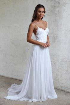 Simple A line Spaghetti Straps Open Back Summer Wedding Dress