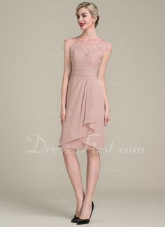 c3b35554cdd8   126.99  Sheath Column Scoop Neck Knee-Length Chiffon Lace Mother of the  Bride Dress With Cascading Ruffles (008102705)
