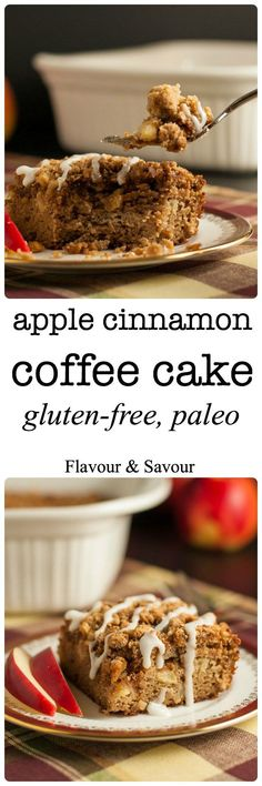 This Gluten-Free Apple Cinnamon Coffee Cake is tender, moist, grain-free and dairy-free. It's sweetened with maple syrup and coconut sugar. You'd never guess it's Paleo!  www.flavourandsavour.com