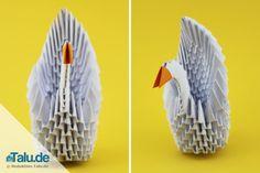 Diese Tangrami Anleitung zeigt Ihnen, wie Sie einen edlen 3D Origami Schwan falten können. Etwas Geduld braucht man dafür schon, aber es lohnt sich.