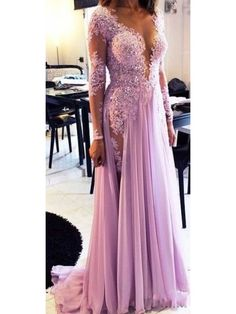 LAVENDER LONG SLEEVES LACE APPLIQUE BEADED PROM DRESS WITH SLIT