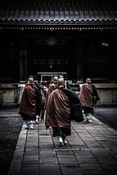 Monks in Kyoto, Japan