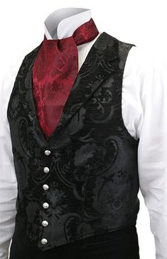 Victorian Mens Black Print Notch Collar Dress Vest | Dickens | Downton Abbey | Edwardian || Aristocrat Vest - Black Tapestry